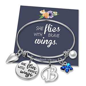IEFWELL Butterfly Gifts for Women, Stainless Steel Butterfly Bracelet Initial Bracelet B Charm Bracelet Expandable Bangle Bracelet Butterfly Gifts for Women Butterfly Jewelry