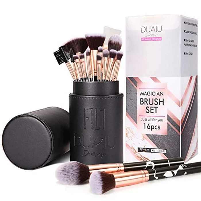 Makeup Brushes Set DUAIU 16PCS Vegan Synthetic Make up Brushes Foundation Eyeshadow Concealer Eyebrow Marble Brush Set With Makeup Brush Holder and Gift Box, Black