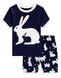 Baby Boys Girls Bunny Easter Short Pajamas 100% Cotton Blue Summer Pjs Sleepwear Infant Kid 12-18 Months