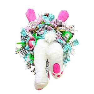 Easter Door Decorations Bunny Butt Wreath Kit Easter Spring Outdoor Indoor Hanging Welcome Sign Wreath Attachment Craft Supplies Ideas (F, 55x40cm)