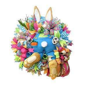 Easter Door Decorations Bunny Butt Wreath Kit Easter Spring Outdoor Indoor Hanging Welcome Sign Wreath Attachment Craft Supplies Ideas (E, 55x40cm)