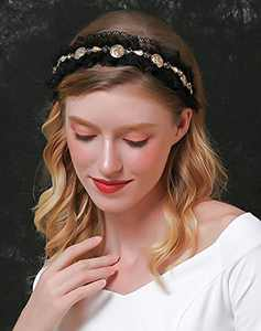 Baroque Luxury Vintage Black Rhinestone Headbands for Women,Fashion Designer Velvet Padded Elegant Headbands for Dancing Party,Engagement,Holiday.