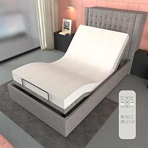 Adjustable Bed Base Wireless Remote Control Dual Massages Independent Head and Foot Incline USB Charge Ports Upholstered Zero Gravity Memory Function Silent Electric Bed Base (Twin XL)