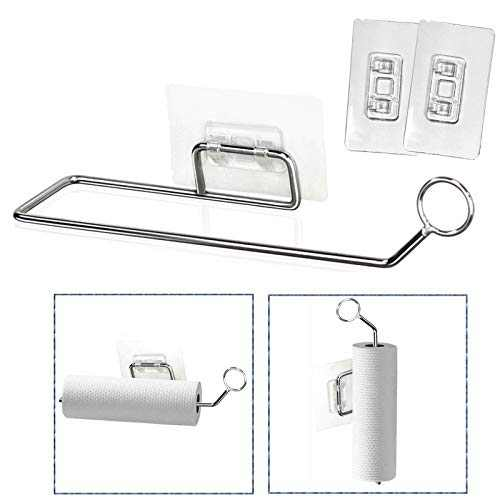 Paper Towel Holder Self Adhesive Wall Mount Towel Bar, No Drilling Need Toilet Paper Holder, Hand Towel Roll Hanger, Stainless Steel Towel Rack for Bathroom & Kitchen, with 2 Self Adhesive Sticker
