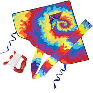KUIENSI Tie Dye Rainbow Kites for Kids and Adults for Beach Trip Outdoor Games, Easy to Assemble, Fly and Carry, 54 inches Huge Wingspan, 65 inches Colorful Tail, 300 ft Kite String
