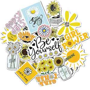 Daisy Flower Stickers for Laptop Water Bottles Skateboard Luggage Bicycle Snowboard, 50Pcs Cute Aesthetic Sticker Pack, Waterproof Vinyl Stickers for Adults Teens Girls Kids