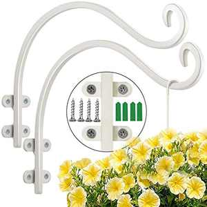 Maosen Plant Hangers Outdoor Hanging Plant Bracket (2 Pcs-16 Inches White), Heavy Duty Metal Plant Hooks for Flowers Baskets Planter Bird Feeder Lanterns Wind Chimes