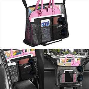 Car Net Pocket Handbag Holder Between Seats, Car Organizer Upgrade Handbag Purse Holder For Car, Large Capacity Car Net Bag Barrier of Back Seat Pet Kids Helps To Safe Driving (Large)