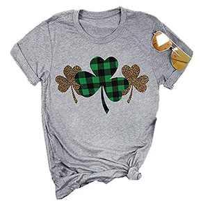 ANIKJOY Womens Valentines Day Shirts Plaid Love Heart Graphic T Shirts Leopard Print Short Sleeve Tee Top (M, Grey-Shamrock)