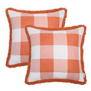 TEAGAN Buffalo Check Plaid Throw Pillow Covers, Farmhouse Decorative Pillow Covers with Cotton Linen Line Edge Decor for Home Bedroom, Living Room, Home Garden Couch Bed Sofa Chair, Orange & White