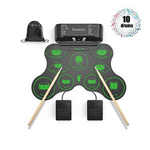 PrawnHz drum pads with 10 Drums, Electric Drum Set with 2 Stereo Speakers, Electronic Drum Set with Hi-Hat, Headphone Jack Out, Battery, and Pouch