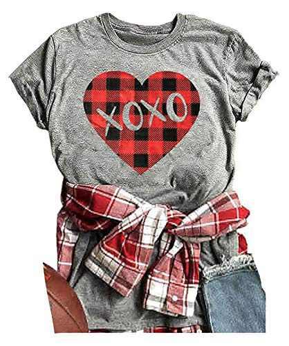 ANIKJOY Womens Valentines Day Shirts Plaid Love Heart Graphic T Shirts Leopard Print Short Sleeve Tee Top (S, Grey-XOXO)