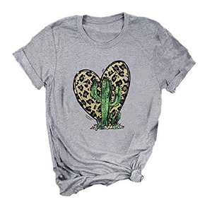 ANIKJOY Womens Valentines Day Shirts Plaid Love Heart Graphic T Shirts Leopard Print Short Sleeve Tee Top (L, Grey-Cactus)