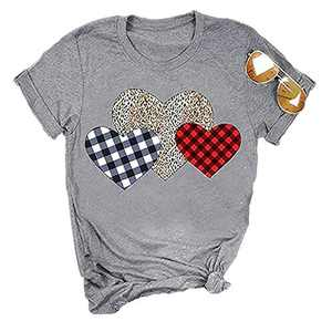 ANIKJOY Womens Valentines Day Shirts Plaid Love Heart Graphic T Shirts Leopard Print Short Sleeve Tee Top (M, Grey-Heart)