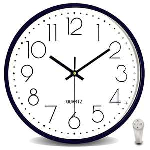 Wall Clock 12 Inch Premium for Bedroom Silent Large Non-Ticking Battery Operated Quality Quartz Round Modern Home Decro Clock