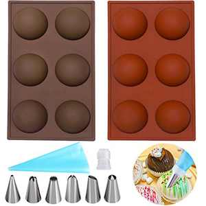 ANGGIKO Silicone Molds Chocolate with Cake Decorating Supplies Kit for Baking Circle Sphere Food Grade Candy Dessert Durable Cake Muffin Pudding Ice Ball Cream Mousse Candy Jelly Soap Mold