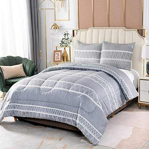 Shatex Queen Size Comforter Sets 3 Pieces Bedding Comforter Sets Printed Grey Comforter Set– Ultra Soft 100% Microfiber Polyester –Queen Comforter with 2 Pillow Shams