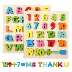 Wooden Puzzles Set Toddler Number and Alphabet Puzzle for Baby Preschool Math, Letters, Colors Learning Good Birthday Toy Gift for Kids Ages 3 4