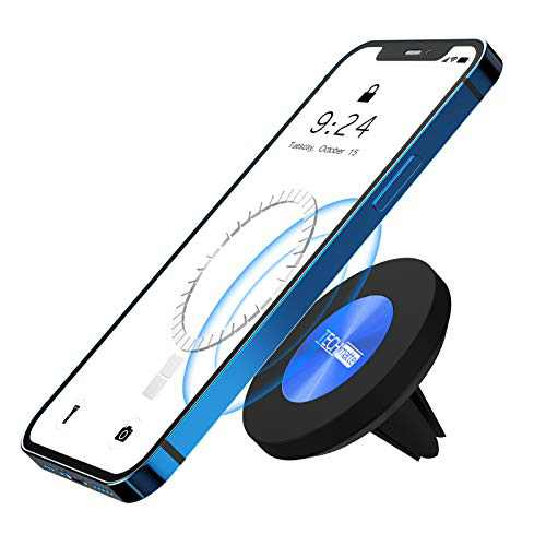 TechMatte MagGrip Magnetic Vent Car Phone Mount Compatible with iPhone 12, Pro, Pro Max, Mini and MagSafe Case, Strong Magnet Air Phone Accessories(Blue)