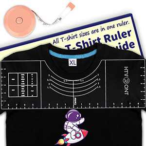 "HTVRONT Tshirt Ruler Guide for Vinyl Alignment - 18""x6""x0.15"" Sturdy Acrylic Ruler - for All T-Shirt Sizes"