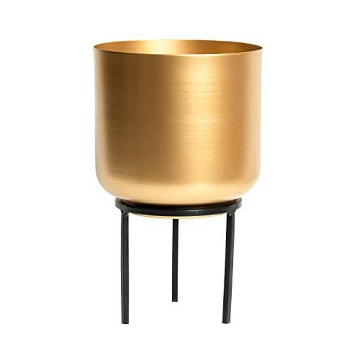 VELLAA Mid Century Planter with Gold Plant Stand, Removable Three-legged/Four-legged Tall Planter for Indoor Outdoor Plants