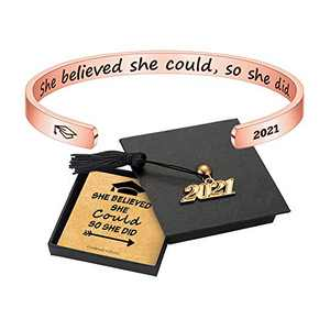 2021 Graduation Gifts for Her Cuff Bracelets - Personalized She Believed She Could So She Did Bracelets Rose Gold Cuff Bracelet Graduation Gifts for Her 2021 College Graduation gifts