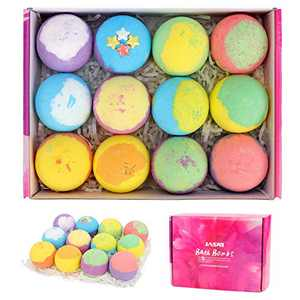 Jasni Bath Bomb, 12pcs, Natural Organic Bath Bubbles, Handmade Kids Bath Bombs with Shea Butter, Moisturize Your Dry Skin, Bath Bombs for Kids, Women, Wife, Girlfriend