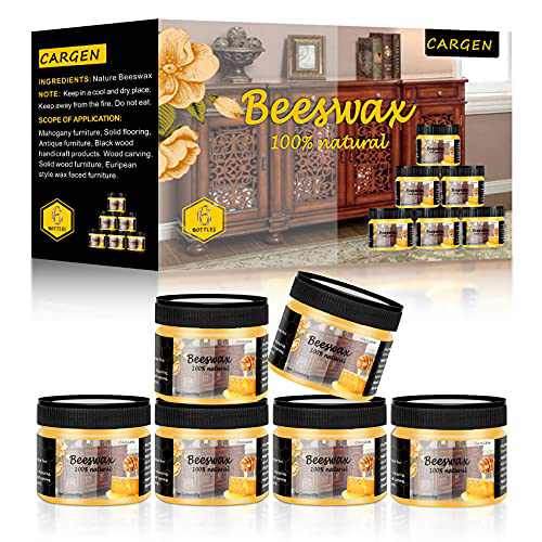 CARGEN Beeswax Furniture Polish, Wood Seasoning Beeswax for Furniture Wood Wax for Dining Table Floor Doors Chairs Cabinets to Protect and Care 6pcs Beeswax Polish 3pcs Sponge and 1pcs Polish Glove