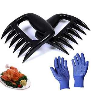 HAEKIM Bear Claws Meat Shredder for BBQ - Perfectly Shredded Meat, Pork Shredder Claw x 2 for Barbecue, Smoker, Grill, with Non-Slip Gloves