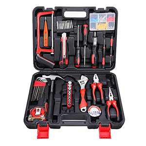 WJYMRO 102-Piece Small Tool Set, Basic Household Hand Tool Combination, Tool Kit with Plastic Toolbox Storage Case, Tools for Men and Beginners