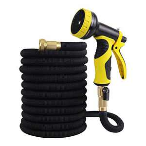 """WHOLEV Expandable Garden Hose 100ft Upgraded, Flexible Lightweight Water Hose With Durable 4-layer Latex Core, 3/4"""" Solid Brass Fittings, No Kink Leakproof Expanding Pipe"""