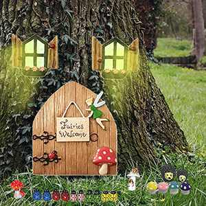 Fairy Door Garden Accessories Garden Decor Kit for Tree Outdoor,Fairy Door and Windows with 18pcs Garden Accessories for Trees Outdoor.Gnome Door Set Garden Art Outdoor Clearance Glow in The Dark