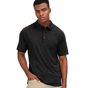 MIER Men's Golf Polo Shirt Short Sleeve Sun Protection Outdoor Sport Shirts Quick Dry, Black, XL
