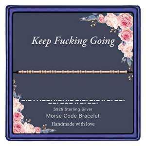 IEFWELL Morse Code Bracelets for Women, S925 Sterling Silver Beads Best Friend Bracelets Friendship Bracelets Gifts for Best Friends Morse Code Strand Bracelets for Women