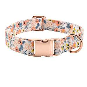 Metal Buckle Dog Collar, Durable Adjustable Dog Collar Soft for Small Medium Large Dogs (M(13-18in), Flower3)
