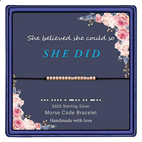 IEFWELL Graduation Gifts Bracelets for Women, S925 Sterling Silver Beads Class of 2021 Graduation Gifts Morse Code Bracelets for Women She Believed She Could So She Did Graduation Gifts for Her 2021