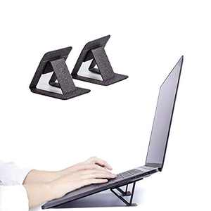 Mini Portable Laptop Stand,Ergonomic Adjustable Notebook Stand,Invisible Cooling Laptop Holder Stand, Adhesive and Reusable,Compatible with MacBook, Tablet and More(Leather Black)