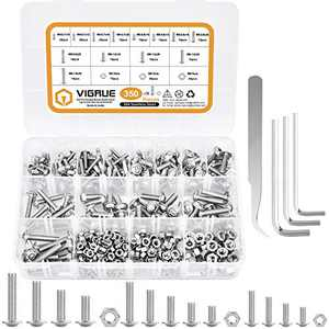VIGRUE M4 M5 M6 Flanged Button Head Socket Cap Screws Assortment Set Kit 304 Stainless Steel Screws and Nuts with Storage Box(350 Pcs)