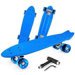 Beleev Skateboards for Kids Teens Adults, 22 inch Cruiser Complete Skateboard for Beginners Girls Boys, Classic Mini Skateboard with Custom Non-Slip Fishtail Deck, Blue