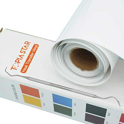 "TOPIA STAR Heat Transfer Vinyl HTV Rolls - 12"" x 12ft Iron on Vinyl for All Cutter Machine, HTV Vinyl for Shirts - Easy to Cut & Weed for Heat Vinyl Design (White)"