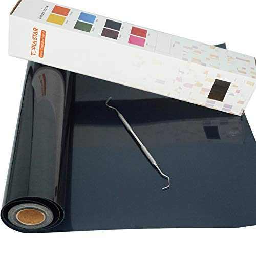 "TOPIA STAR Heat Transfer Vinyl HTV Rolls - 12"" x 12ft Iron on Vinyl for All Cutter Machine, HTV Vinyl for Shirts - Easy to Cut & Weed for Heat Vinyl Design (Black)"