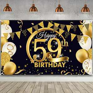 59th Birthday Party Decoration, Extra Large Fabric Black Gold Sign Poster for 59th Anniversary Photo Booth Backdrop Background Banner, 59th Birthday Party Supplies, 72.8 x 43.3 Inch