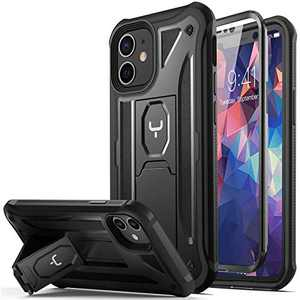 YOUMAKER Designed for iPhone 12 Mini Case, Heavy Duty Protection Kickstand with Built-in Screen Protector Shockproof Case Cover for iPhone 12 Mini Case 5.4 inch - Onyx