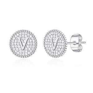 Disc Stud Earrings for Women Girls, S925 Sterling Silver Post White Gold Stud Earrings CZ Letter V Initial Hypoallergenic Earrings for Women Sensitive Ears Toddler Kids Earrings for Girls Jewelry
