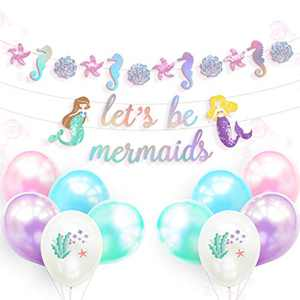 NICROLANDEE Birthday Party Decorations - Pre-Assembled Glitter Mermaid Banner Let's Be Mermaid Garland Latex Balloons Set for Mermaid Party, Baby Shower, Under The Sea Theme Party