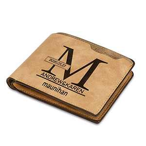 Albertband Custom Personalized Name Wallets-Bifold Wallets for Men Custom Message(Front or back)Gifts for Boyfriend Husband Dads (brown-2)