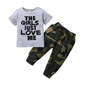 Baby Boys Camouflage Hooded Sweatshirt Outfit The Girl Just Love Me Top Pants Set (Grey2, 18-24 Months)