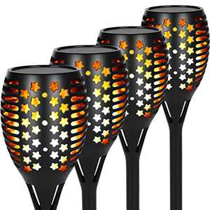 Opard 96 LEDs Solar Torch Light Outdoor, 36'' Solar Flickering Flame with Three Lighting Modes Waterproof Light with Larger Lamp Head