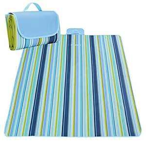 YUKOOL Picnic Blanket Waterproof, 200x200cm Extra Large Picnic Rug Picnic Mat, Portable Camping Blanket Sandproof Beach Blanket for Picnic, Beach, Camping, Hiking - Blue and Yellow