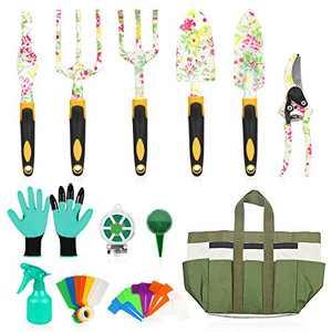 Binen Gardening Tool Set,13 PCS Heavy Duty Gardening Tools Kit Floral Print Garden Tool Set with Non-Slip Rubber Handle & Durable StorageTote Bag, Aluminum Gardening Supplies Gifts for Women Men